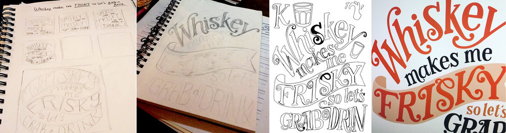 Sketches, inking, and vector illustration process shots.