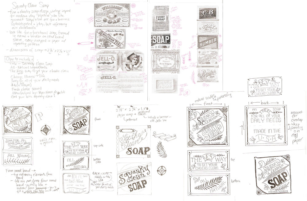 Initial sketches based on vintage inspiration, and then ideas for packaging design.