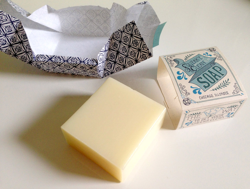 Final soap packaging, unwrapped.