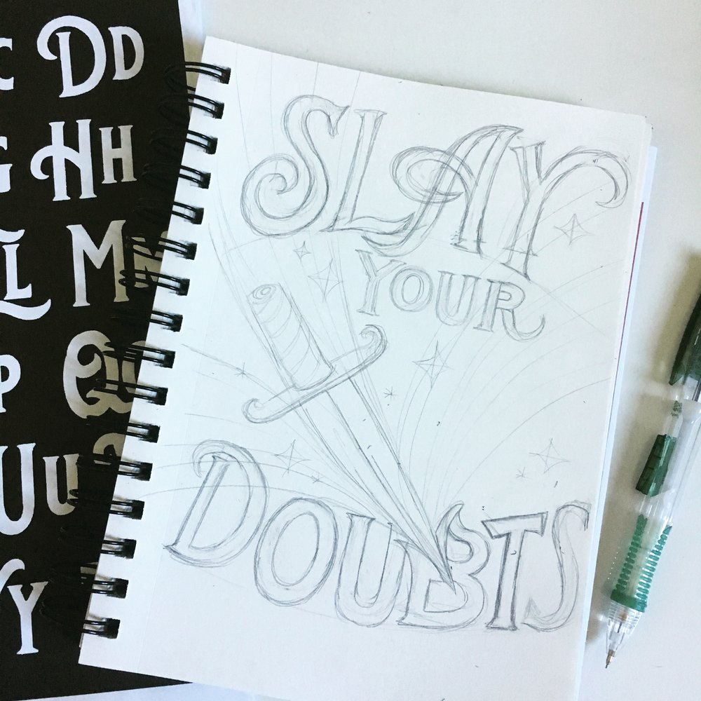 My initial pencil sketch (plus showing some of the lettering inspiration from LetterShoppe's Dina Rodriguez's Lettering Adventures workbooks).