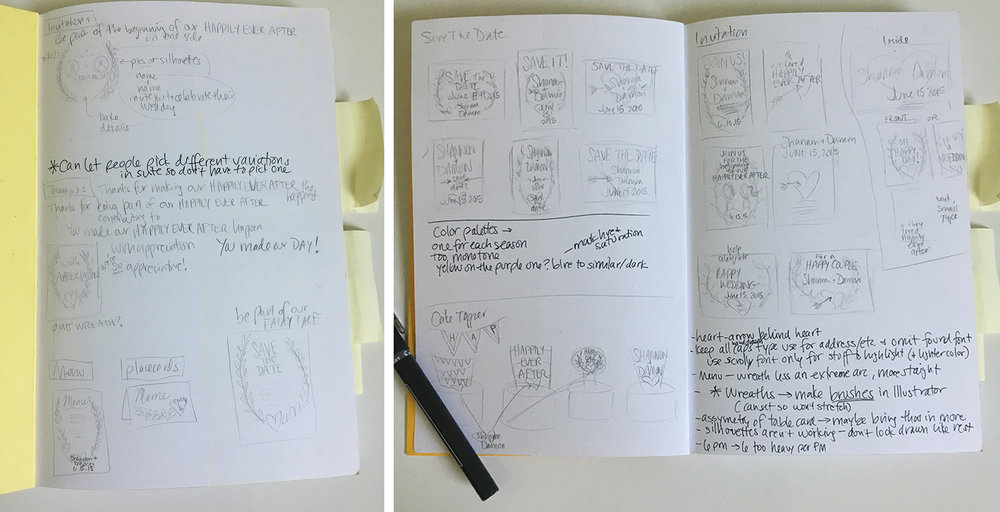 Sketches for the invitation suites.
