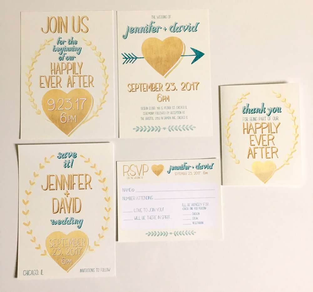Golden Harvest, invitation suite #1. This one has a golden color scheme and unique invitation, save the date, reply card, and thank you note designs.