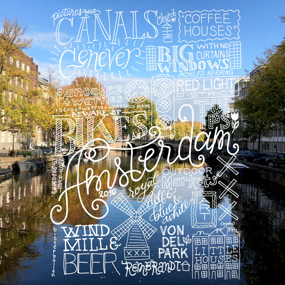 Final lettering collage on a photo of the Amsterdam canals.