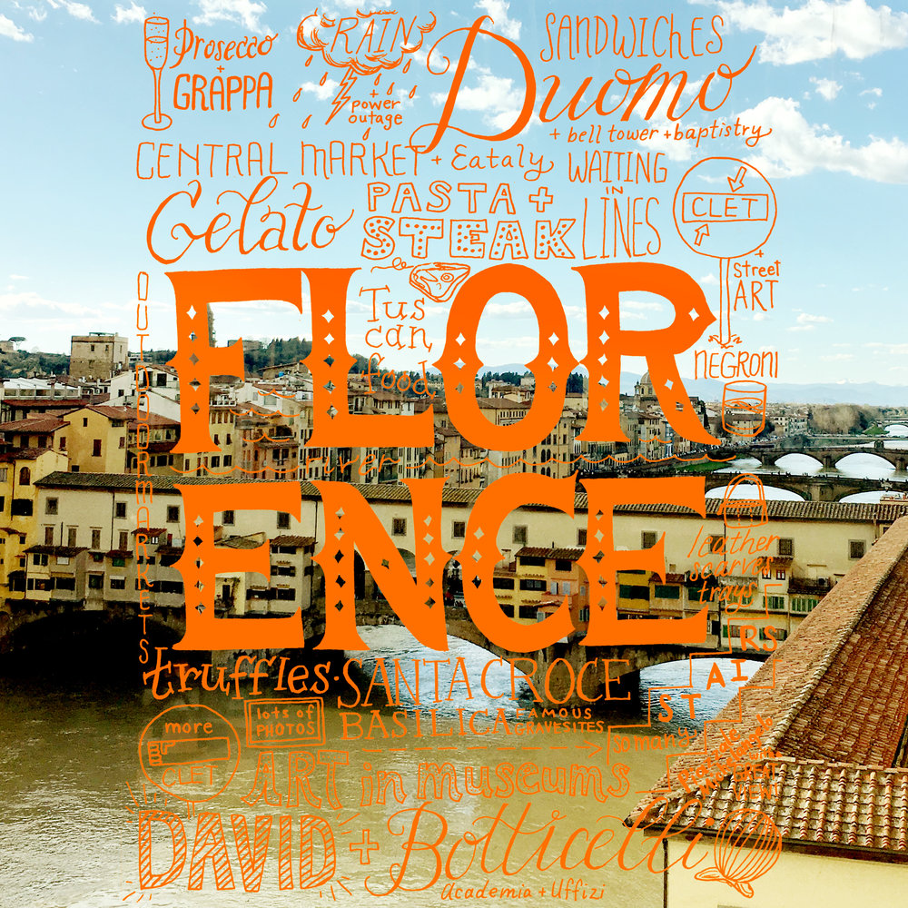 Final lettering on a photo of Florence.
