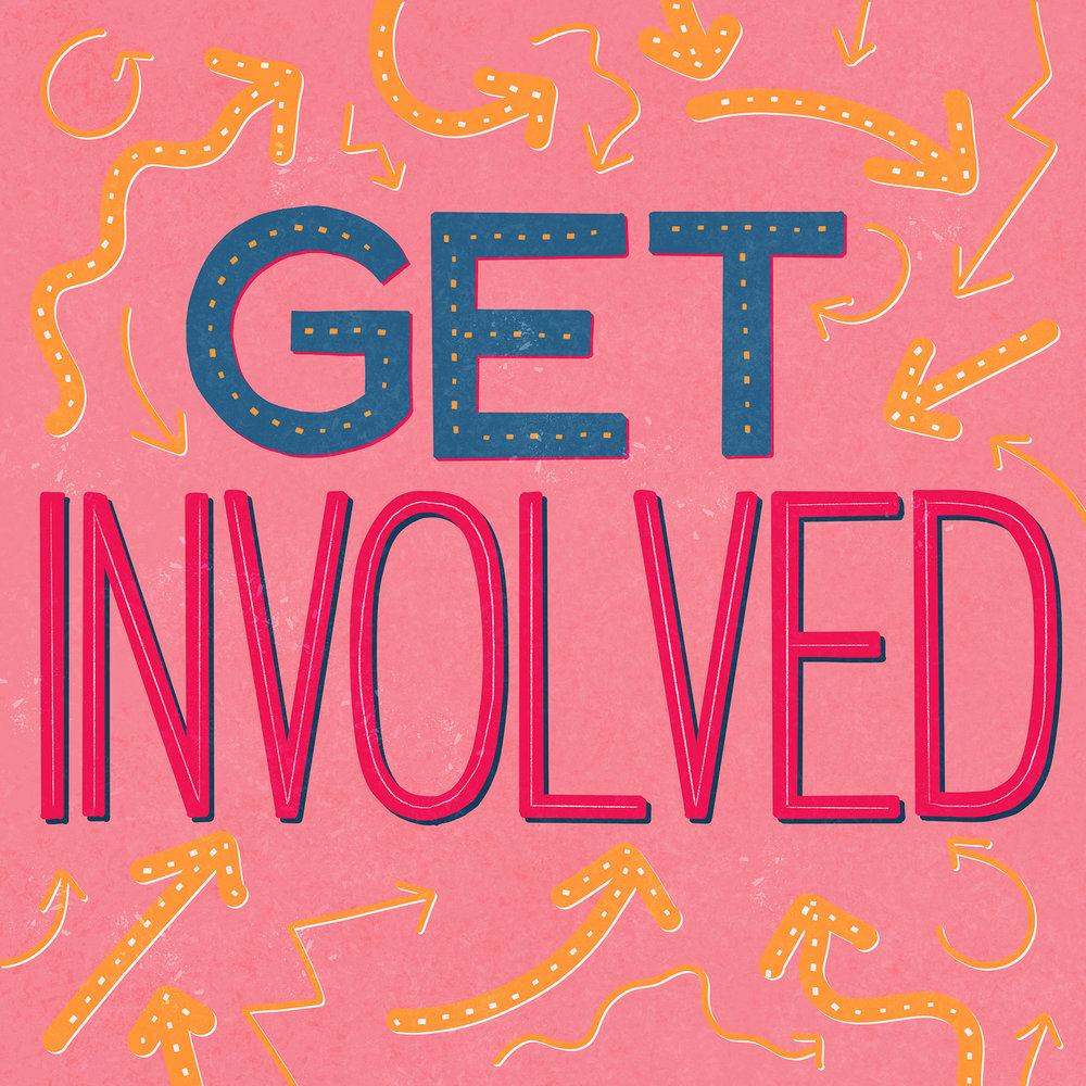Get Involved Lettering Piece