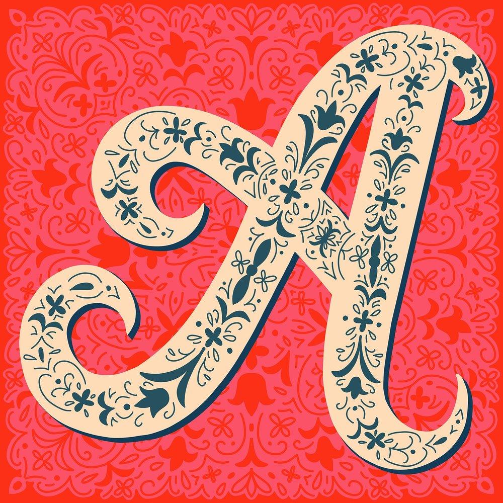 Pretty Alphabet Monogram Drop Caps