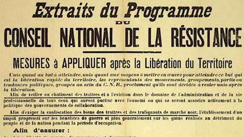 27 mai : journée de la Résistance en France, mémoire du CNR et de son  programme — Les éditions Bibliomonde
