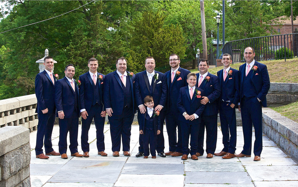 Navy blue slim fit tuxedos wedding party
