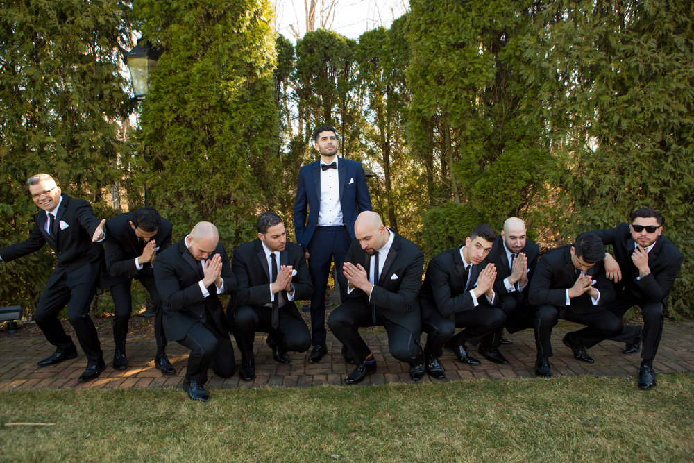 wedding party wearing slim fit tuxedos