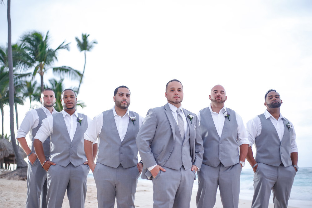 destination wedding grey slim fit tuxedos
