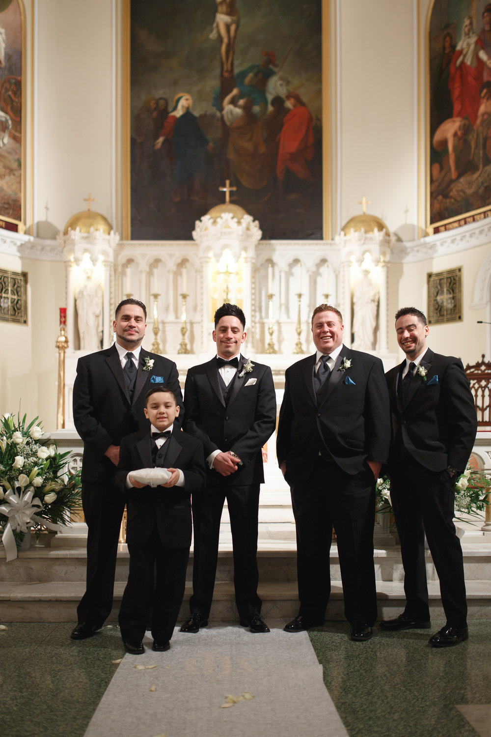 Groom and Groomsmen black slim fit tuxedos