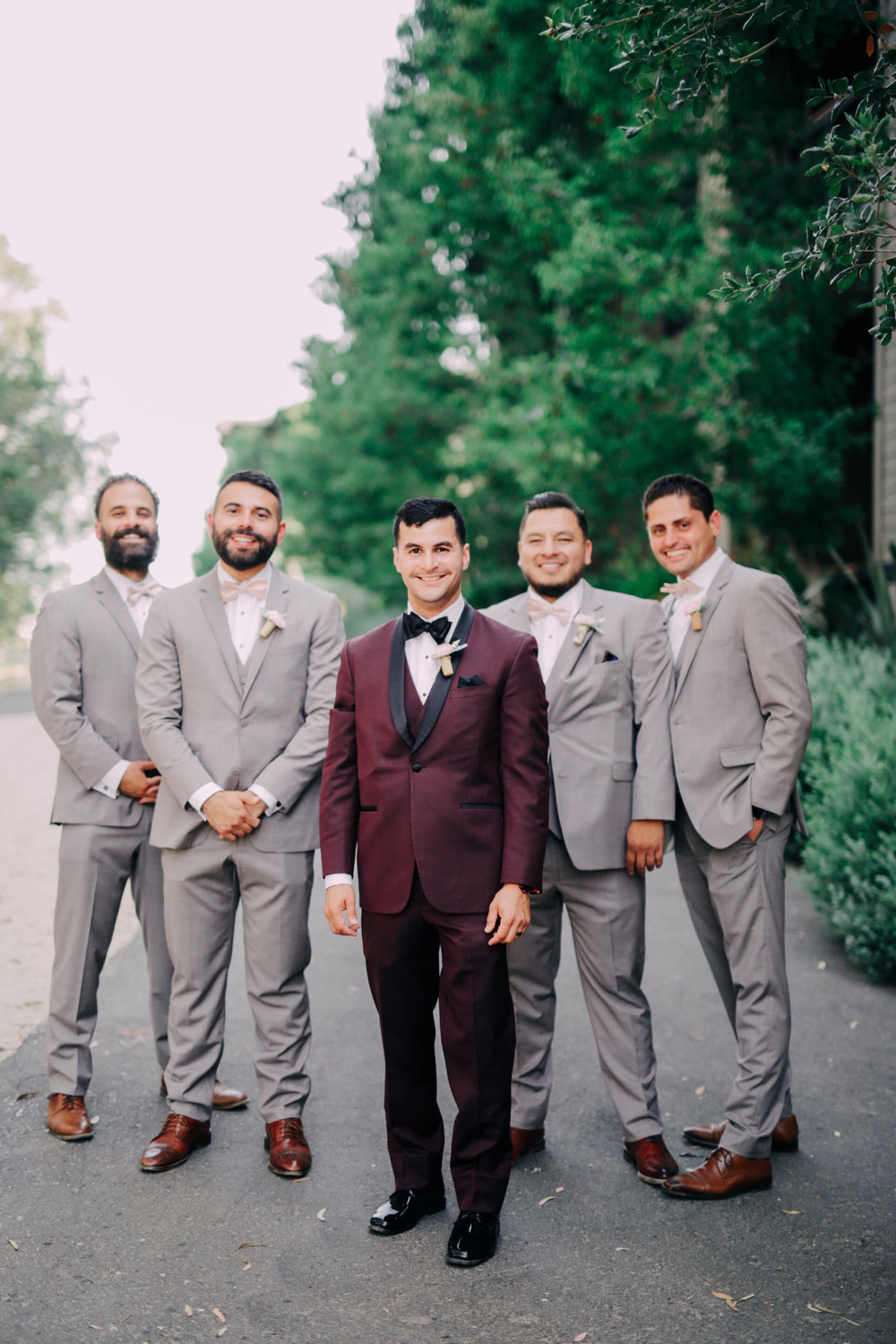 Groom and groomsmen slim fit tuxedos