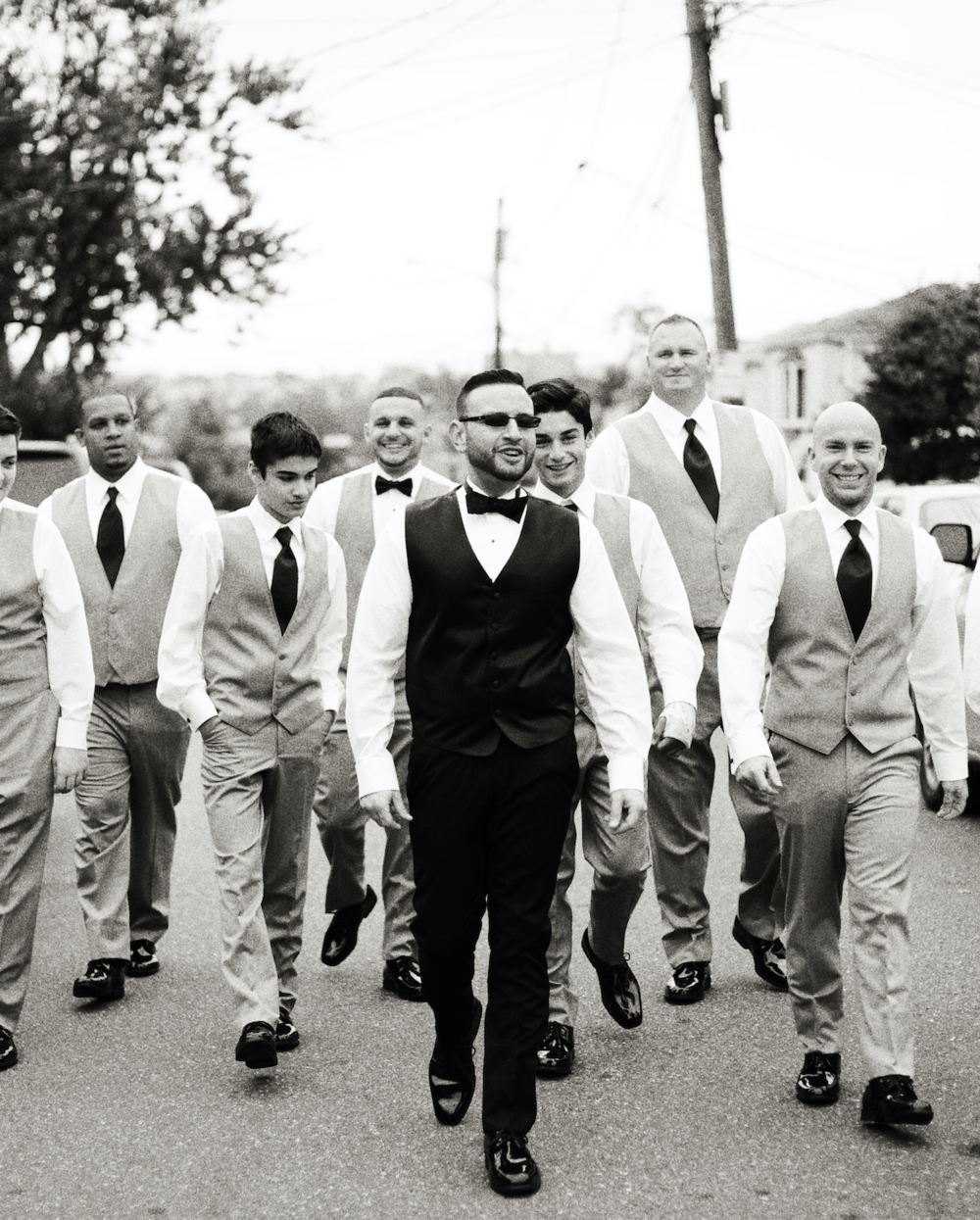 Groom and groomsmen grey slim fit tuxedos