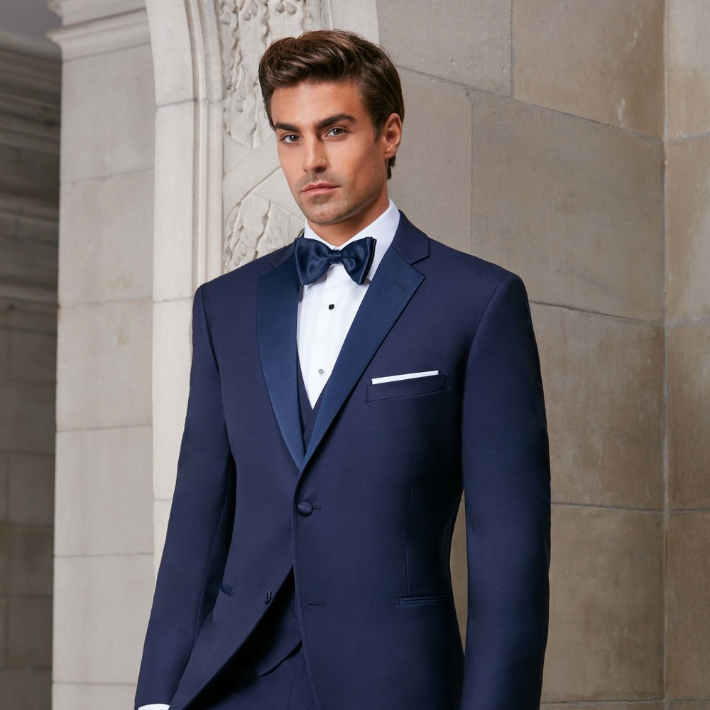IKE BEHAR SEBASTIAN NAVY SLIM FIT TUXEDO