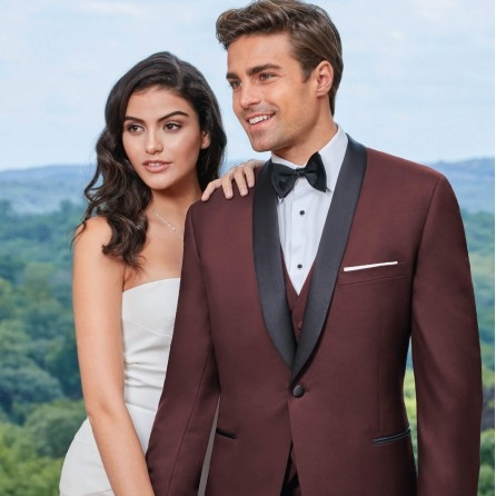 IKE BEHAR CAMDEN BURGUNDY SLIM FIT TUXEDO