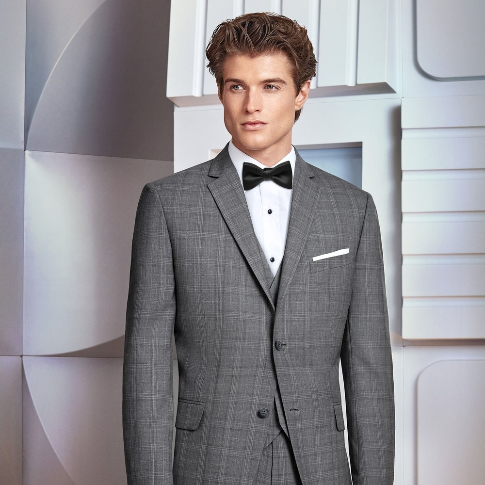 IKE BEHAR HAMILTON PLAID SLIM FIT TUXEDO