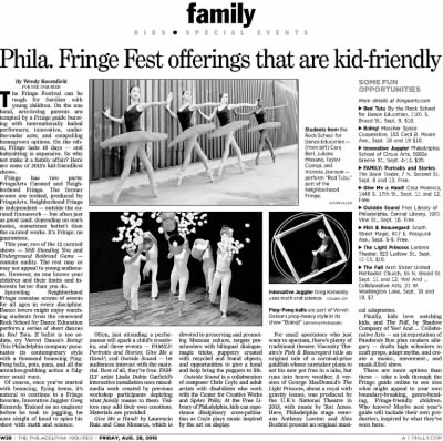 Philadelphia Fringe Fest offerings that are kid-friendly   The Philadelphia Inquirer, Friday, August 28th, 2015