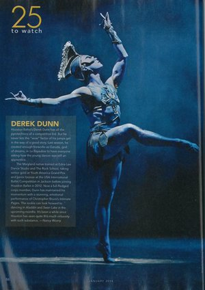 25 To Watch Derek Dunn  Dance Magazine - January 2014