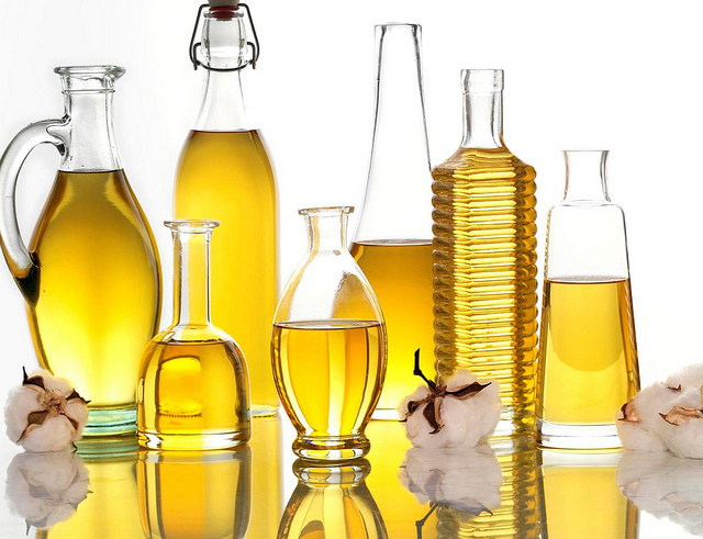 Bottles of oil.