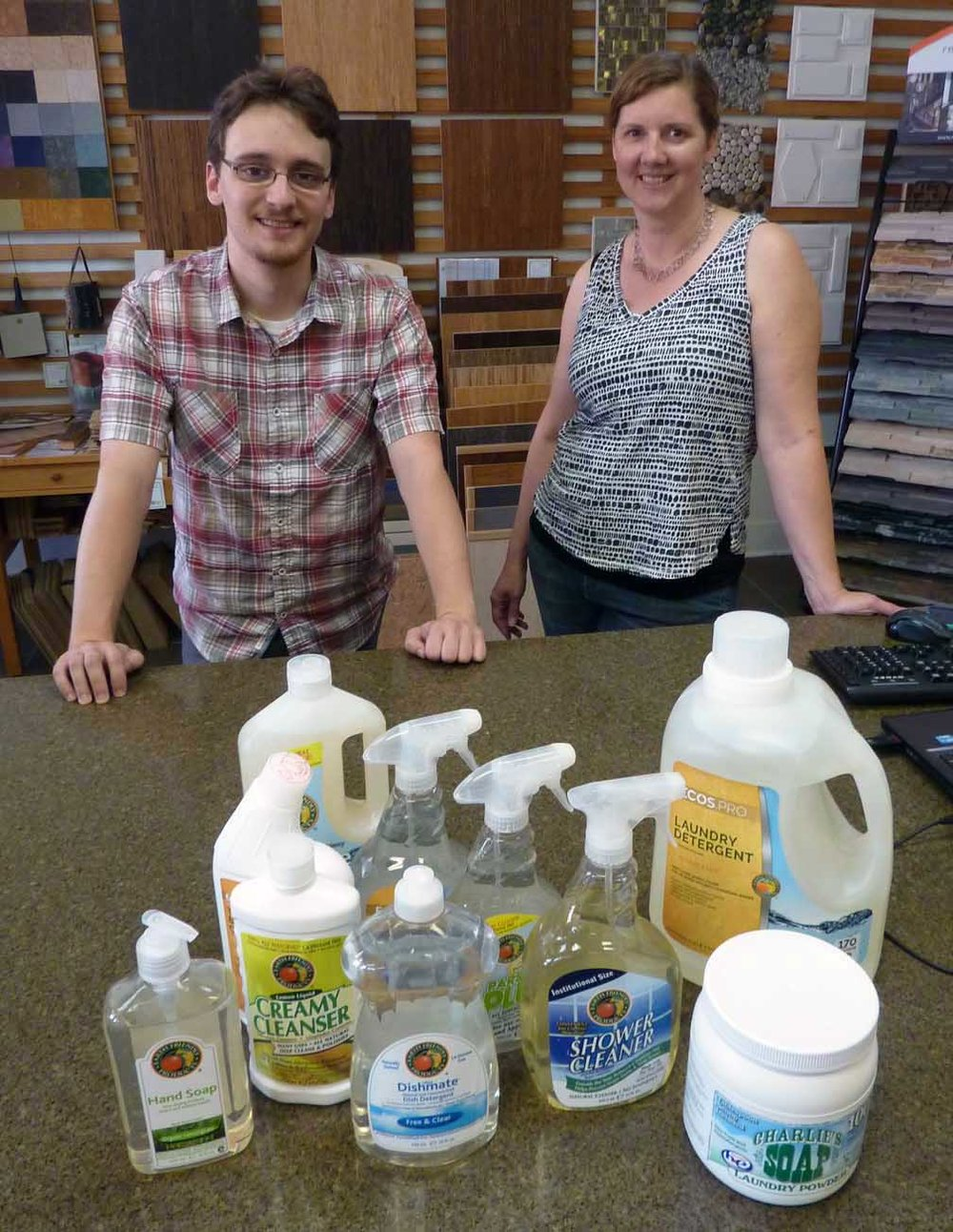 Ecos Laundry Detergent refills cost less than Costco at Green Home Experts. Sales Associates Chris Christou and Amy Struckmeyer show the range of green cleaning supplies available for refill at bargain prices.