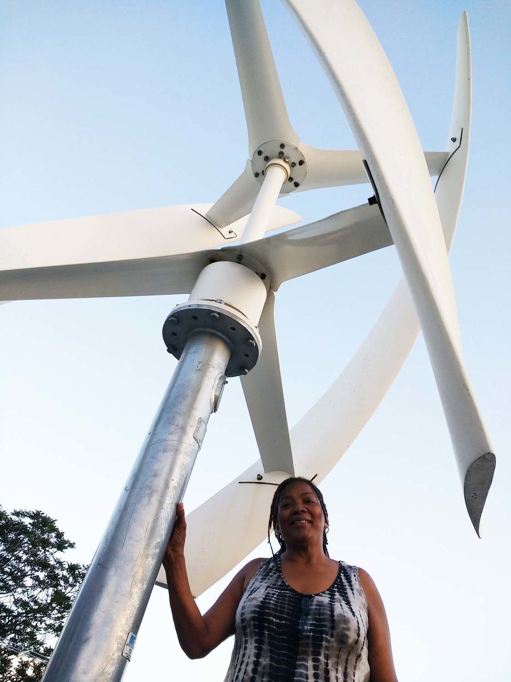 Annette Britton with her rooftop wind turbine.