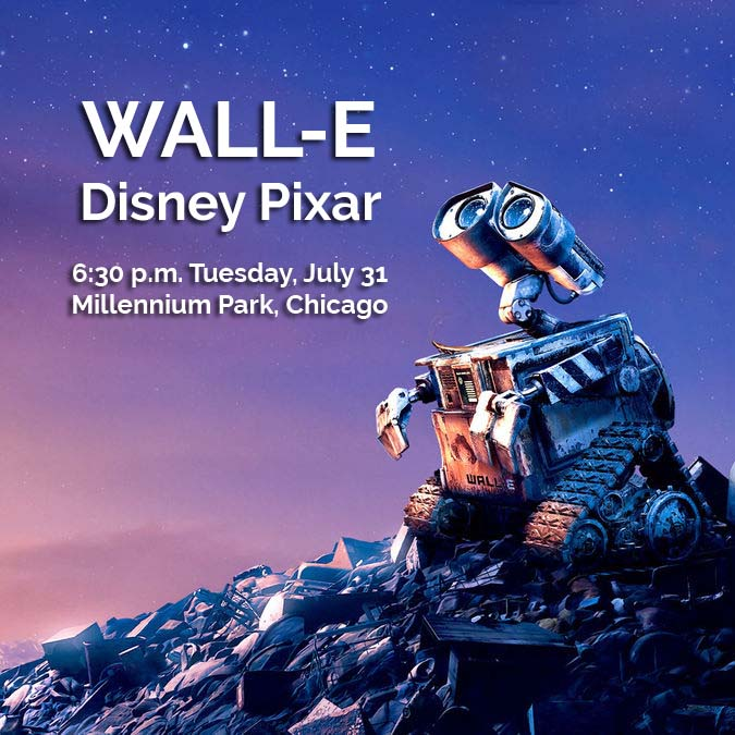 Wall-E the robot looks at the stars.