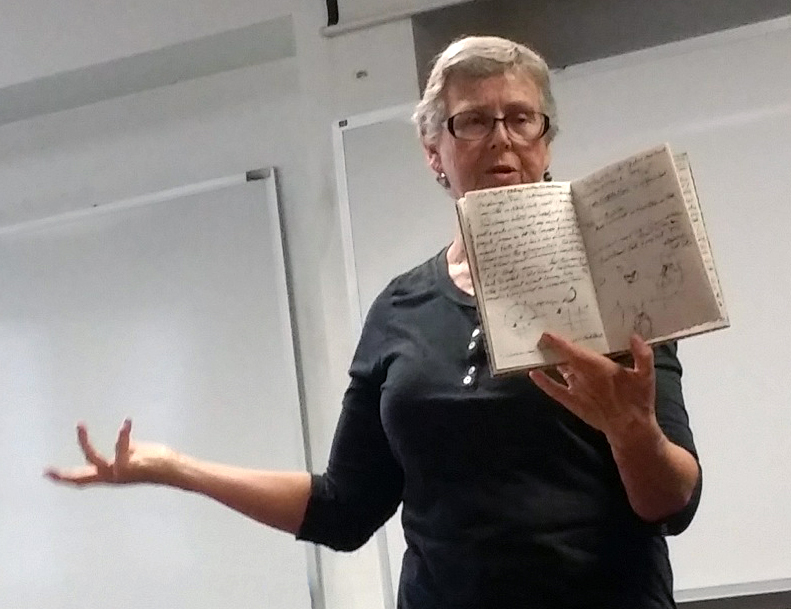 Sallie Wolf suggested creative methods for journaling at a West Cook Wild Ones meeting. Photo by Cassandra West.