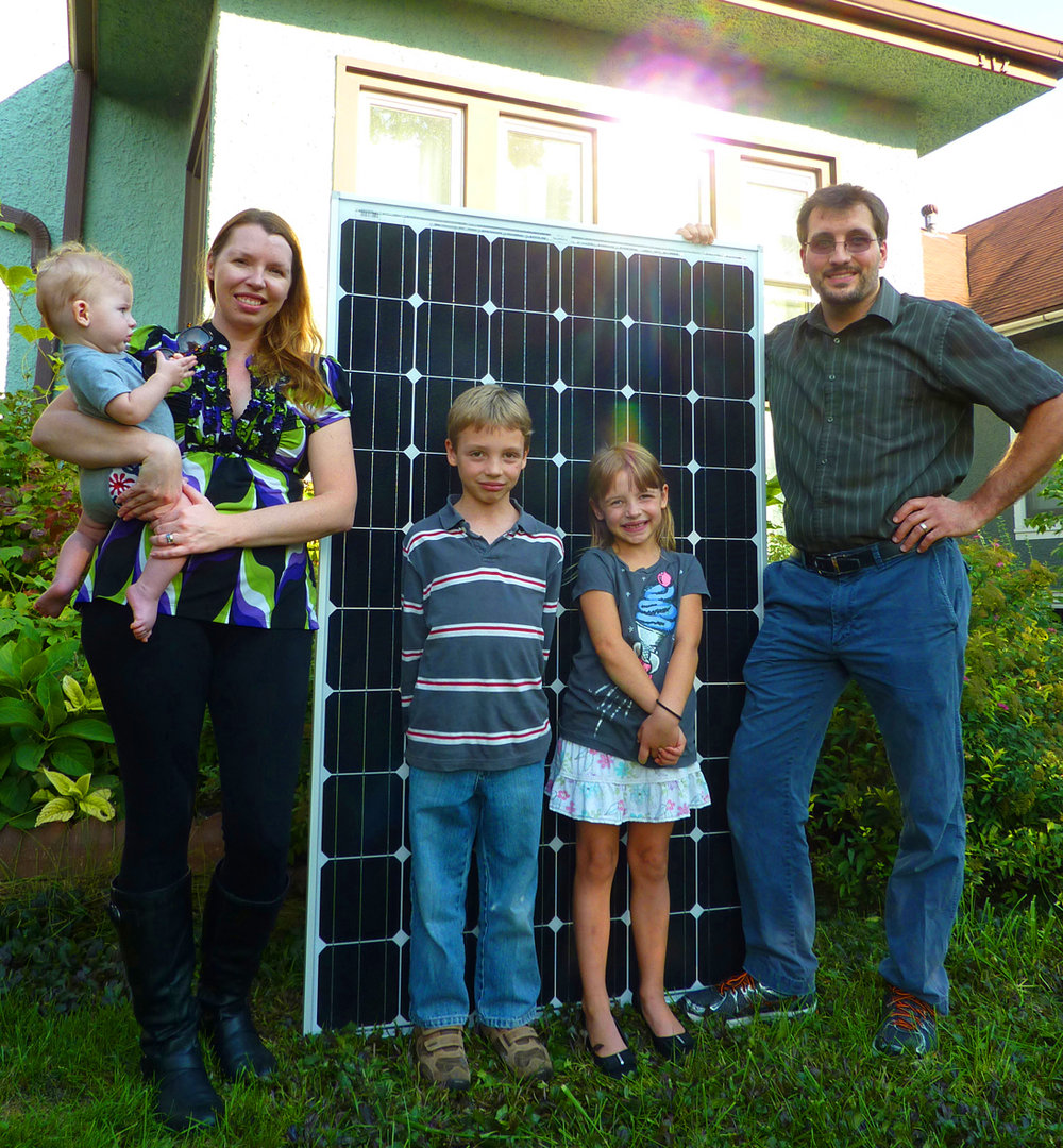 The Crystal and Alan Prechel Family have 29 solar panels, 4 chickens, and 2 electric cars, in addition to 3 adorable children.