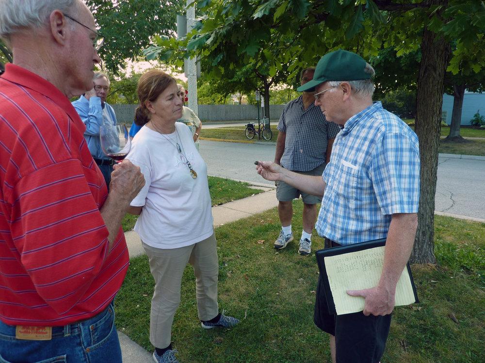 Gordon Waldron gives a tour of the trees on the parkway.