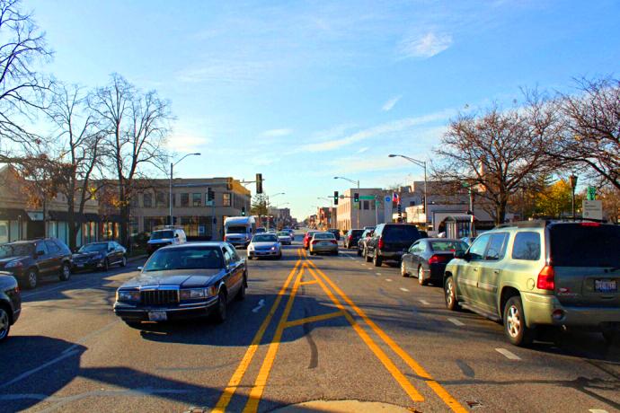Madison Street traffic.