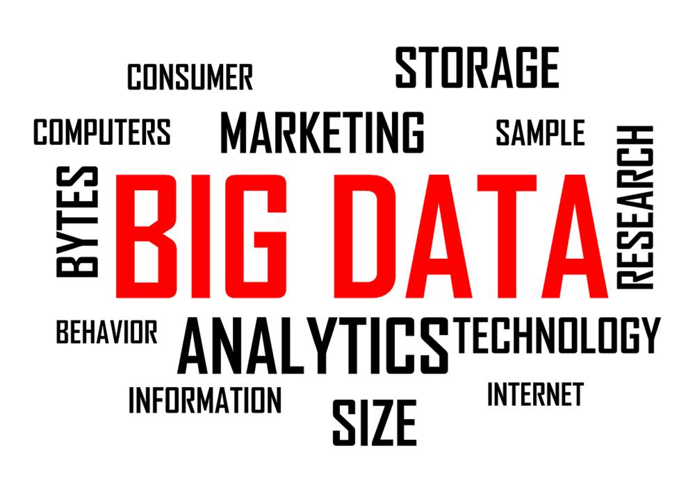 A design with words using Big Data, Analytics, Marketing, etc.