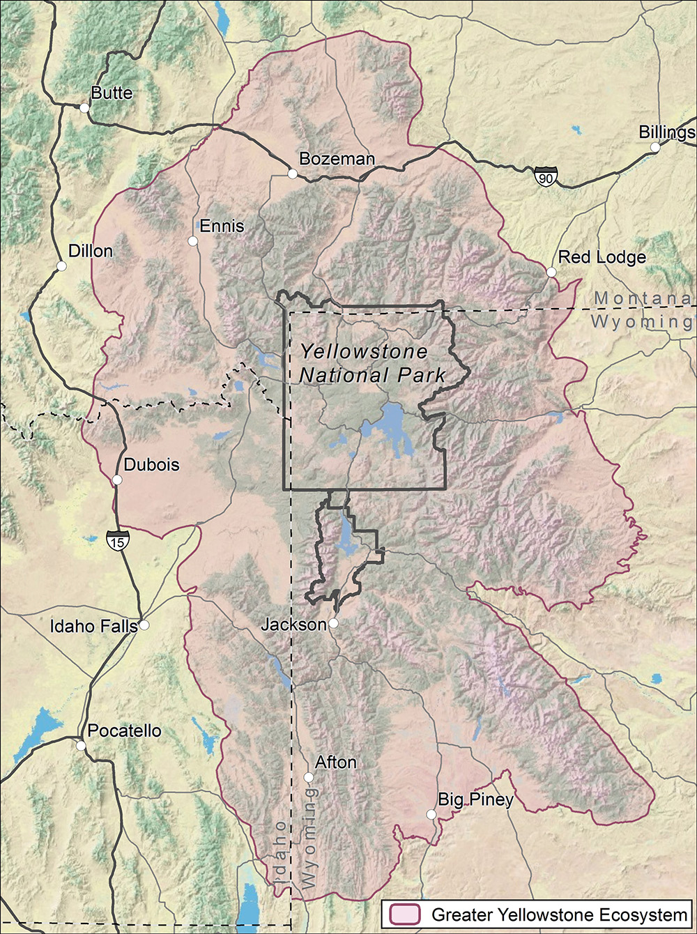 Greater Yellowstone ecosystem map courtesy of USGS.