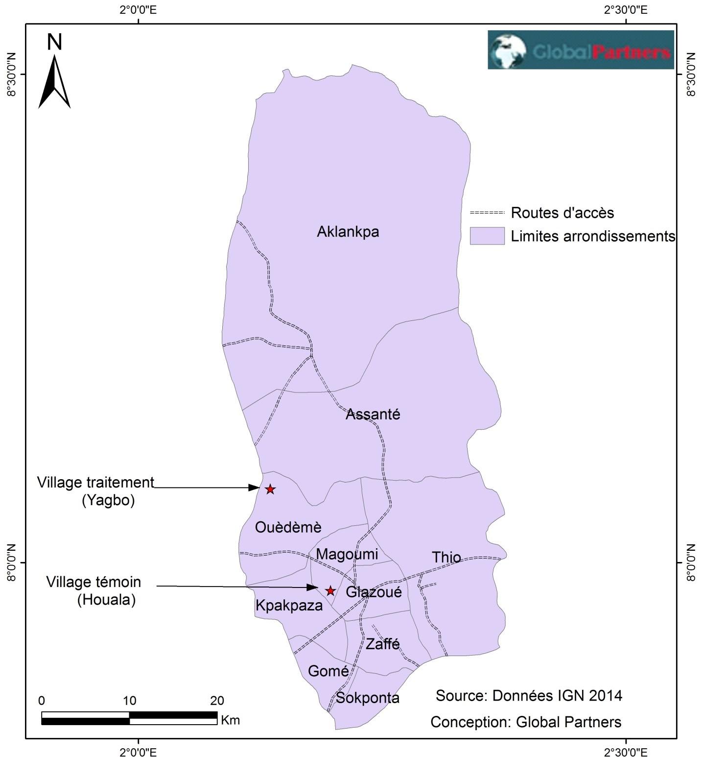Localisation des villages de Yagbo and Houala dans la Commune de Glazoue
