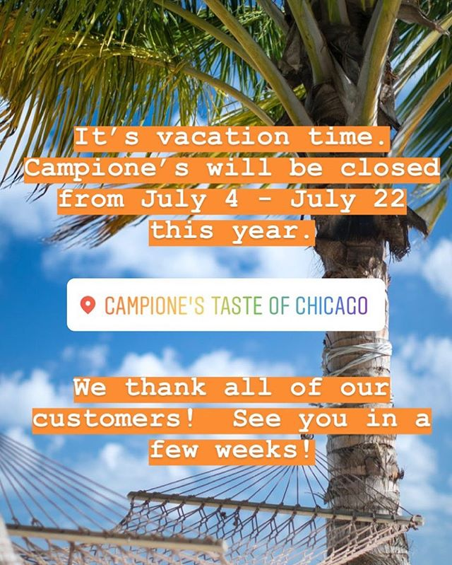Vacation time is upon us.  This year we are taking an extended vacation to repaint walls and resurface floors.  Come visit on July 23 to see how it looks!  Can't wait to see you then! . . . . #italianbeef #chicagofood #italianfood #nashvillefitness #longhollow #foodie #nashvillefoodie #yelpnashville #yelp #hotdog #chicagohotdog #chicagodog #meatballs #pizza #foodporn #foodstagram #localbusiness #localrestaurant