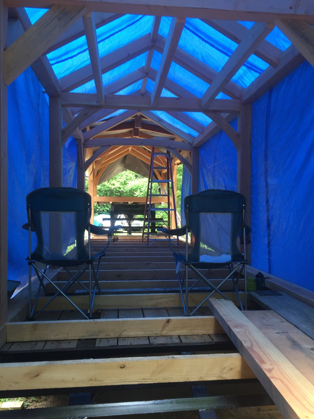 Timber Frame - Blue Tarp