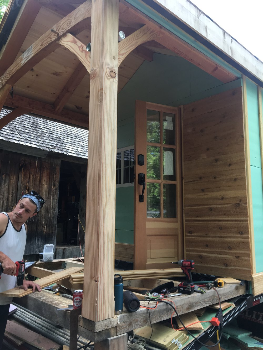 Tim starting the siding on the front side of the house.