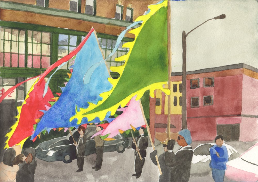 Flag bearers, Chinese New Year, International District, Seattle