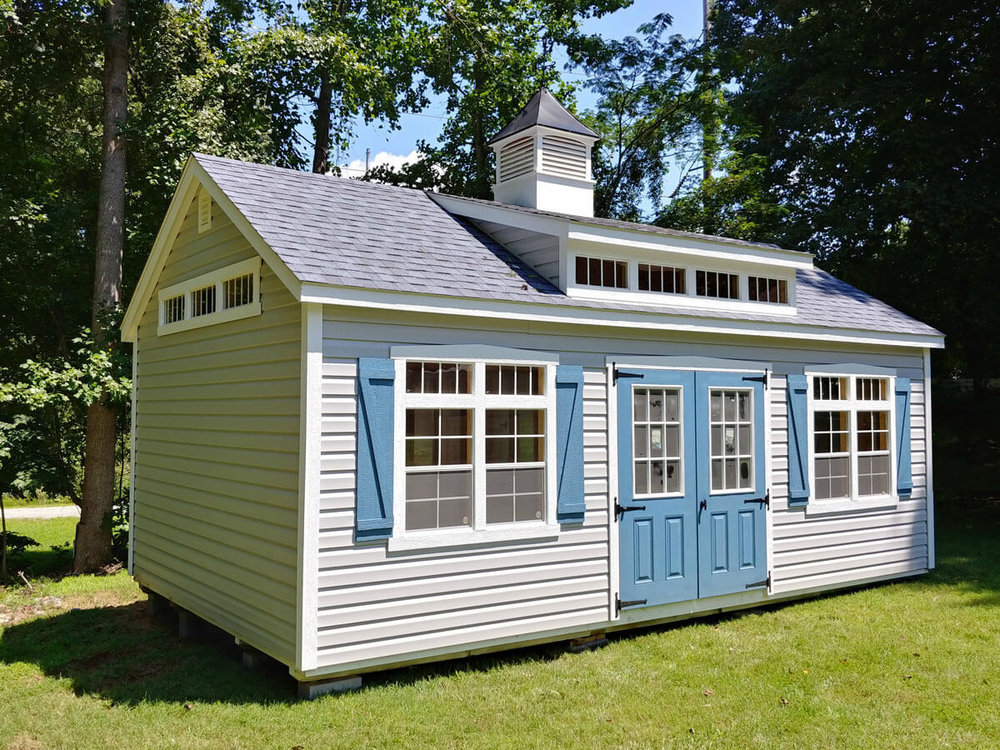 Shown with Transom Dormer, Transom Glass, Painted 9-Lite Doors and Cupola