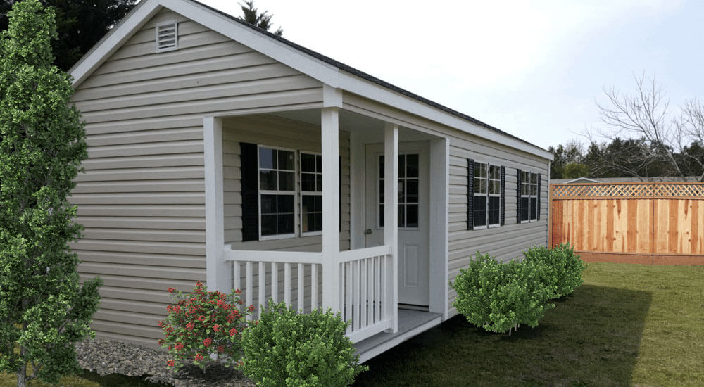 Vinyl Utility Shed with Vinyl Side Porch.