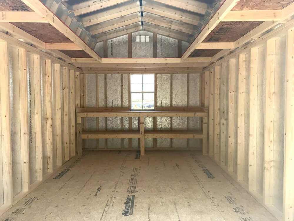 Uniquely Liberty, the U-Loft features 2-foot wide lofts down the length of the shed with the 4-foot loft at a gable end.