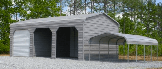 Enclosed Bent Bow Garage and Carport