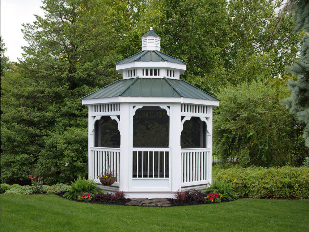 Vinyl Octagon Gazebo with Screens