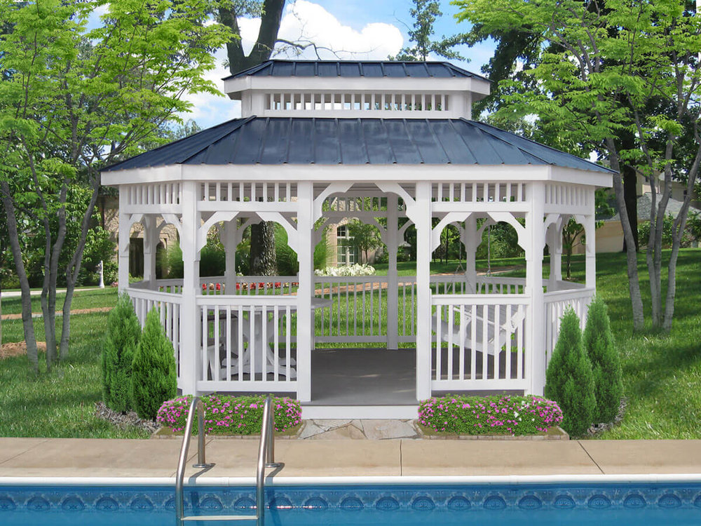 Vinyl Oblong Gazebo shown with Double Roof, Swing, Table, 1/2 Benches and Gallery Blue Metal Roof.