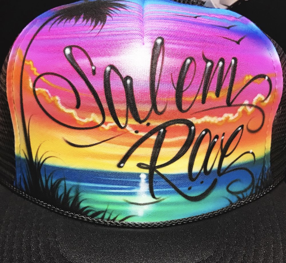 Custom airbrushed trucker hat beach scene palm tree and name