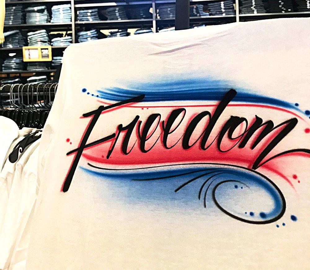 Airbrushed Levi's t-shirt Orlando Florida Freedom cursive