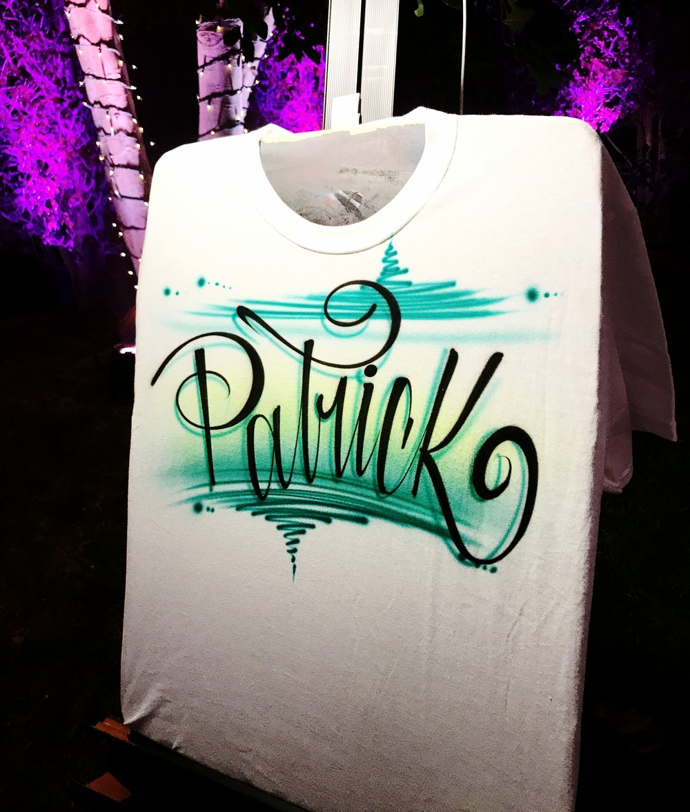 Airbrush shirt boy design cursive