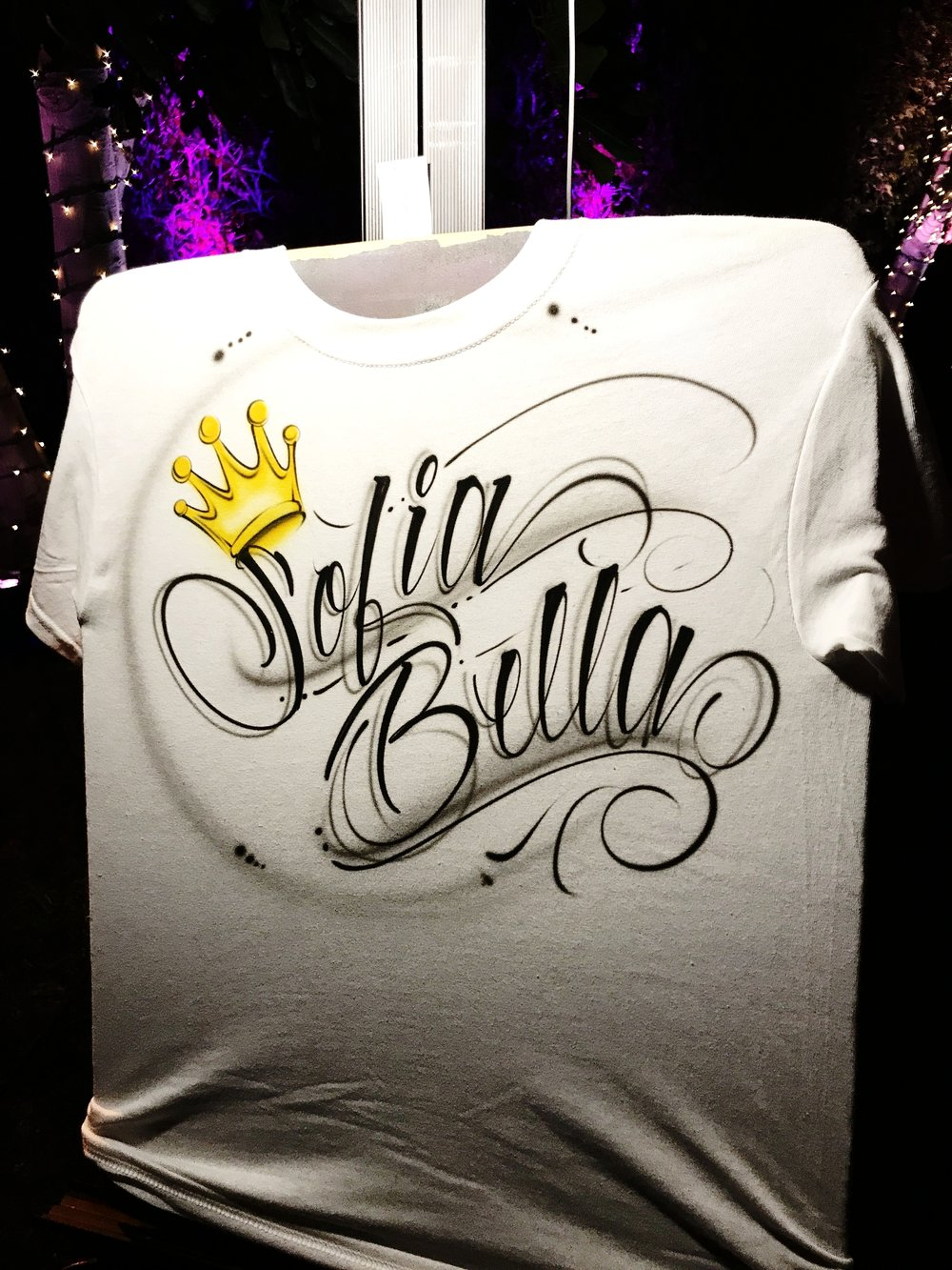 personalized airbrushed t-shirt with crown girl design