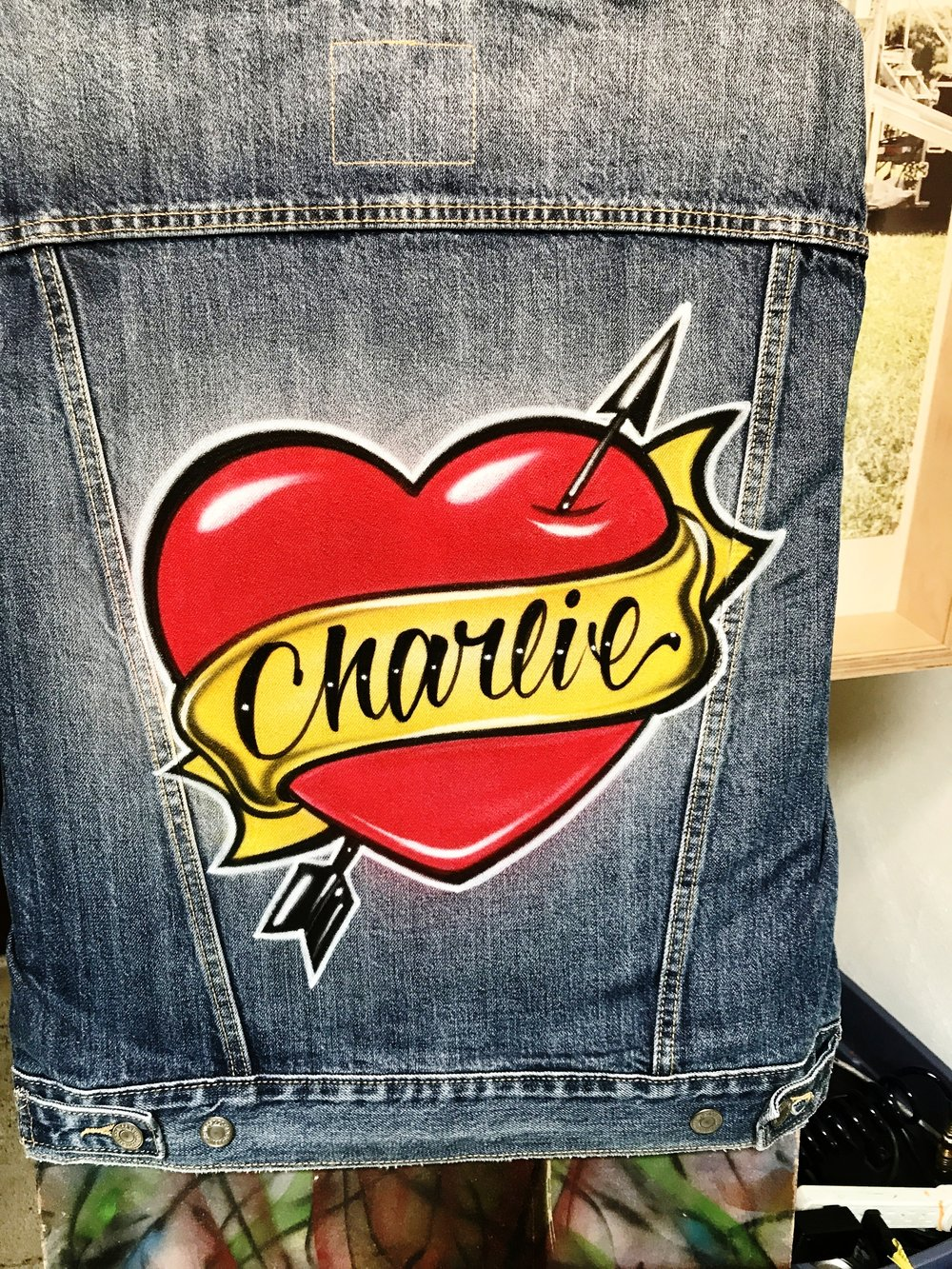 Airbrushed Trucker Jacket with heart and arrow