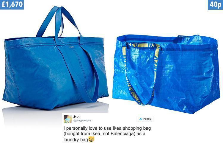 Tweet Frakta, borsa di plastica blu di Ikea vs borsa Balenciaga