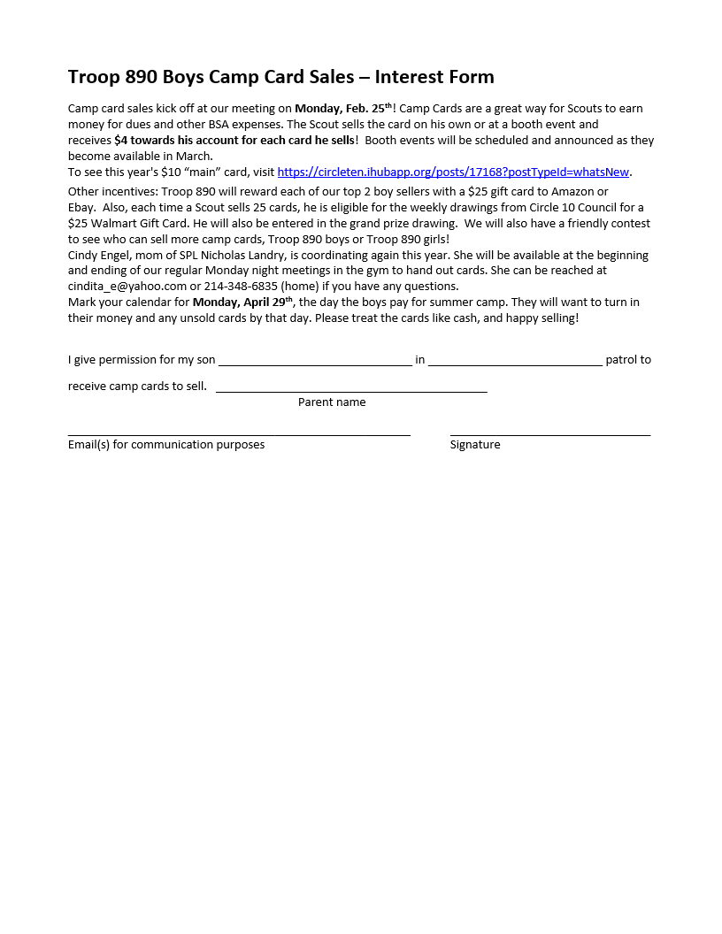 interest form - Click on the form to download and print it out.